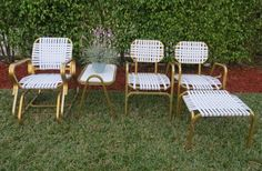 Retro Vintage Gold Aluminum Patio Set-5 Piece by SoulfulVintage