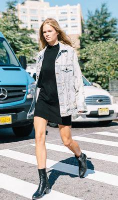 date night street style black dress denim jacket