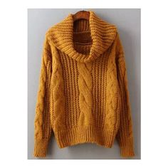 Cowl-Neck Cable-Knit Sweater (52,710 KRW) ❤ liked on Polyvore ...