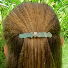 Aqua Sea Glass Barrette Hawaii Beach Glass by HanaMauiCreations on Etsy --  I LOVE this barrette!!
