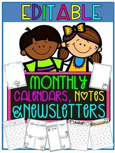 Editable Calendars, Newsletters & Forms! This set includes three different sets of calendars to choose from, two black and white and one color. You have holiday and non-holiday options. There are also several newsletter templates. There are two or more themed forms for each month, perfect for sending out a parent note or party sign up sheet. $