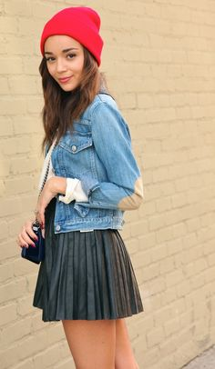 a233d25fe7958e pretty in pleats! pleated fashion black leather pleated skirt, denim  chambray shirt, red beanie hat ring my bell ashley