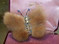 Vintage bijoux magnifique perle strass véritable vison fourrure papillon broche pin