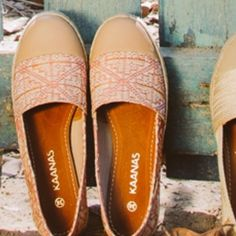 NWOT KAANAS Handcrafted espadrille slip-ons  Upper: 100% brushed cotton in Kaanas designed prints Cotton lining Padded leather footbed for extra comfort Jute-wrapped midsole Textured rubber outsole Kaanas Shoes Espadrilles