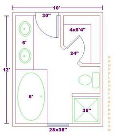 Bathroom Layout Diagram 8 x 12 foot master bathroom floor plans walk in shower - possible