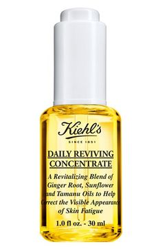 Daily Reviving Concentrate with Essential Oils for Face by Kiehl's. Facial oil with ginger essential oil, sunflower oil, and tamanu oil for radiant-looking skin all day. Essential Oils For Face, Ginger Essential Oil, Anti Aging, Kiehl's Since 1851, Tamanu Oil, Perfume, Kiehls, Facial Oil, Shopping