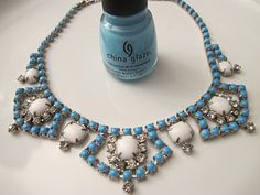 paint cheap costume jewelry with nail polish. BRILLZ!