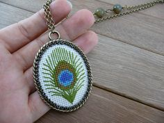 Peacock feather cross stitch necklace