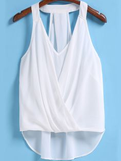 Shop White V Neck Front Cross Chiffon Tank Top online. SheIn offers White V Neck Front Cross Chiffon Tank Top & more to fit your fashionable needs. Summer Outfits, Cute Outfits, Beachwear Fashion, Stitch Fix Outfits, White V Necks, Mode Hijab, Dress Sewing Patterns, White Shop, Summer Shirts