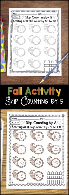Fall Skip counting by 5's and 10's. CCSS aligned. Great for morning work or classwork.