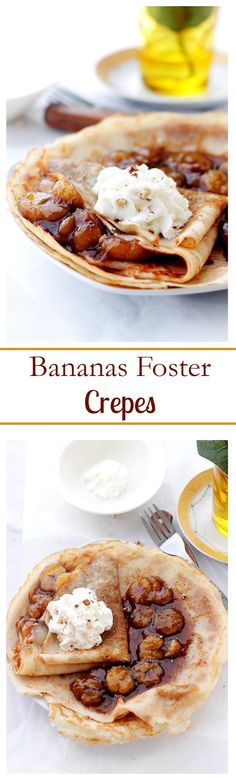 Bananas Foster Crepes: Flambéed, sweet banana sauce tucked inside delicious and warm crepes. Breakfast Crepes, Crepes And Waffles, Pancakes, Brunch Recipes, Dessert Recipes, Homemade Crepes, Delicious Desserts, Yummy Food, Creole Recipes
