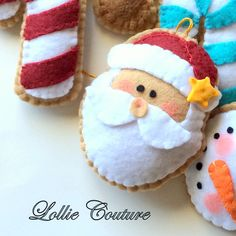 Santa Cookie Ornament MODERN HOLIDAY by Lollie Couture MADE IN THE USA THIS IS A PATTERN FOR A FELT ORNAMENT SANTA ORNAMENT (PDF) Measurements when made are approximately: SANTA 4 x 3 1/2 This PDF document is 3 pages long with colorful pictures and easy to read English