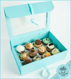 Blue luxury cupcake box
