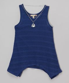 Loving this Speechless Dark Blue Lace Sidetail Tank & Pendant Necklace on #zulily! #zulilyfinds