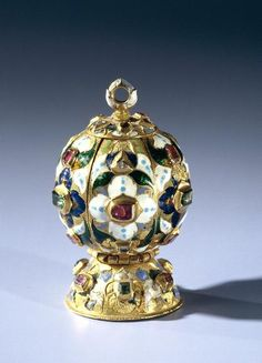 Pomander, gold, rubies, enemeralds and diamonds; embossed enamel floral and leaf decoration. Netherlands, circa 1600-1625