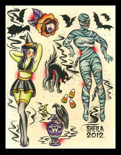 Halloween tattoo flash art pin up halloween in traditional American style Future Tattoos, Love Tattoos, Tattoo You, Ship Tattoos, Gun Tattoos, Ankle Tattoos, Halloween Tattoo Flash, Halloween Art, Halloween Inspo
