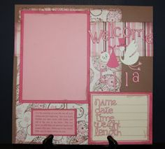 I've had some requests to repost Ella's baby album. Ella is my niece and I made this album for my sister for her baby shower. Baby Girl Scrapbook, Baby Scrapbook Pages, Kids Scrapbook, Scrapbook Sketches, Scrapbook Page Layouts, Scrapbook Albums, Scrapbook Cards, Baby Mini Album, Recipe Scrapbook