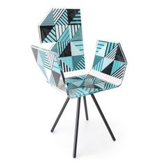 Polygon Acrila blue Chair. UnidecoCasa.com