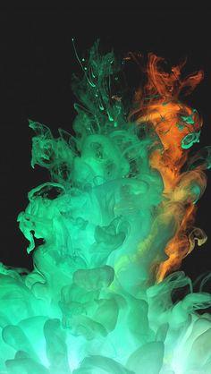 Orange Green Smoke Art Photography iPhone 5 Wallpaper