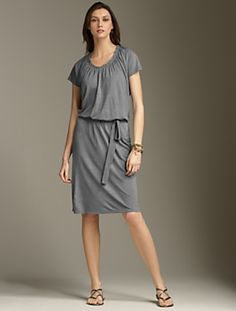 grey knit dress, throw on and go