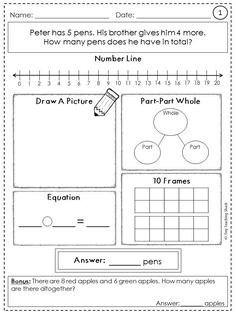 Addition Word Problems Hands On Activity Worksheets  Word
