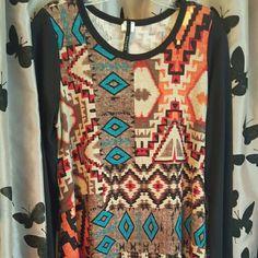 ?Short dress? ??SUPER CUTE ?? Multi frame short dress, wore twice. Can fit a Size L Boutique  Dresses Long Sleeve