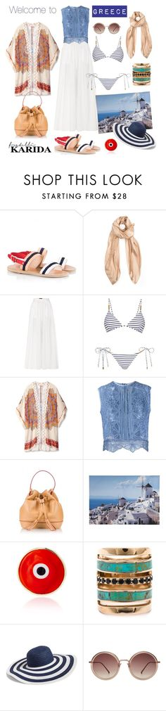 """""""Welcome to Greece"""" by fratellikarida-com ❤ liked on Polyvore featuring Ancient Greek Sandals, Balenciaga, The Row, Melissa Odabash, Theodora & Callum, Martha Medeiros, Post-It, Coccinelle, Graham & Brown and Elena Votsi"""