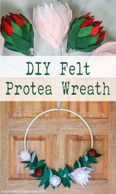 Today I will show you how to make a Protea Wreath from felt, polystyrene craft balls and an embroidery hoop. It is an easy project. Home Decor Hacks, Diy Crafts Hacks, Diy Craft Projects, Home Crafts, Craft Ideas, Large Embroidery Hoop, Felt Diy, Creative Home, Decorating Blogs