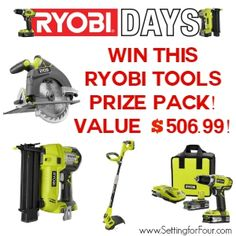Win a Ryobi Tools One + System Giveaway - value at $506.99! www.settingforfour.com