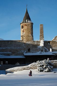 Haapsalu castle in winter, Estonia Ambit Energy, Baltic Region, Scandinavian Countries, Winter Pictures, Baltic Sea, Abandoned Houses, The Places Youll Go, Towers, Castles