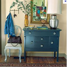Paint dresser this color. :)   Milk Paint Custom Mix: 4 to 5 Federal Blue to 1 Tavern Green