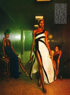 Vogue Italia enlists some of fashion's top black models including Chanel Iman, Jourdan Dunn, Melodie Monrose, Ajak Deng, Arlenis Sosa, Sessilee Lopez, Rose Cordero, Kinee Diouf and Mia Aminata Niaria for a smoldering shoot in its February edition. Photographed by Emma Summerton and styled by Edward Enninful, the girls wear the season's most notable gowns and dresses from Lanvin, Givenchy, Jil Sander and others.
