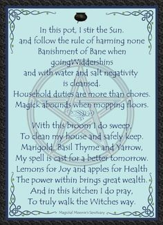 Kitchen witch cleansing prayer
