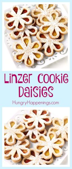 Linzer Cookie Daisies Turn crunchy almond cookies into pretty flowers. These Liner Cookie Daisies make perfect treats for Mother's Day, bridal showers, spring luncheons, or even an afternoon tea. Drop Cookies, Cut Out Cookies, Fun Cookies, Kiss Cookies, Linzer Cookies, Almond Cookies, Sugar Cookies, Best Party Food, Edible Crafts