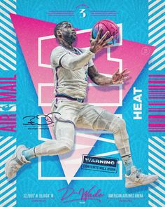 NBA Air Mail im Auftrag - intensity - Sports Graphic Design, Graphic Design Posters, Graphic Design Inspiration, Sport Design, Basketball Design, Basketball Art, Miami Heat, Nba Pictures, Plakat Design