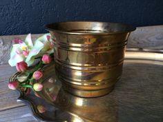 Vintage Brass Planter Vase by seedlingplantation on Etsy, $11.00