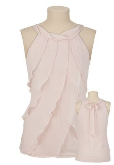 Sleeveless Mock Neck Chiffon Tiered Top in Lotus - Maurices | wadulifashions.com