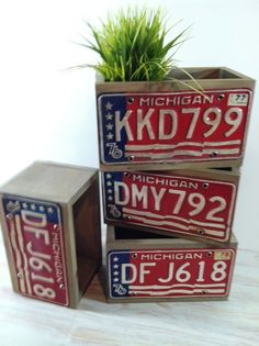 I used vintage Michigan License plates from the 70's to make planter boxes. The wood is made for use outdoors, but could be used for indoor storage. The plates…