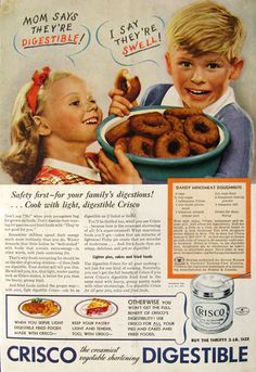 """Can't digest doughnuts? Try Crisco! I can't even tell you how just looking at this ad - with that big bowl of donuts - makes my stomach hurt. (And yes, I get that it was a """"thrifty"""" way to cook, but oh my.)"""