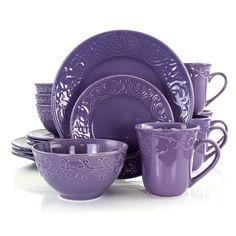 Dinnerware Sets Walmart, Stoneware Dinnerware Sets, Tableware, Dinner Plate Sets, Dinner Plates, Lavender Color, Lilac, Lavender Fields, Purple Haze