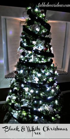 black and white christmas tree theme