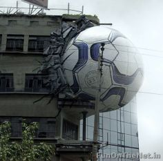 This huge Nike ball stuck on the side of a building was used to promote the World Cup.