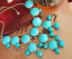 Green j,crew J.Crew Auth Bubble Necklace TURQUOISE BLUE RV $150 Freeshipping