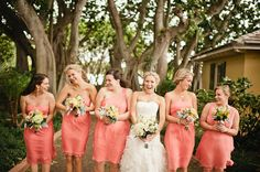 Beautiful coral bridesmaid's dresses! (Will add the designer as soon as we have it!) Photography by beephotographie.com
