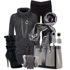 """""""Black and Grey All the Way"""" by stylesbyjoey on Polyvore"""