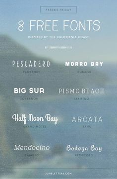 Freebie Friday: 8 Free Fonts Inspired by the California Coast — June Letters Studio