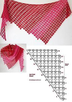 Crochet Shawl Diagram, Crochet Motif Patterns, Crochet Ripple, Crochet Cardigan Pattern, Crochet Doilies, Crochet Lace, Crochet Stitches, Crochet Scarves, Crochet Clothes