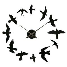 com Present Time Karlsson Diy Birds Wall Clock, Black Home & Kitchen Time Inc, Wall Clock Online, Cool Clocks, Wall Clock Design, Diy Clock, Clock Ideas, Decoration, Branding Design, Diys