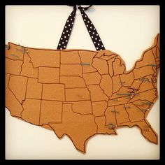Cork board map! outline of U.S. and pins for places I've visited and lived