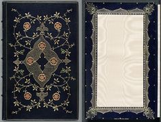 This blue goatskin cover with its red and green onlays, is tooled in gold to an original design based on an Eastern theme. This theme is continued on the turn-ins which are also tooled in gold, this time with green and blue onlays depicting peacock feathers; the central panel of the pastedown is cream watered silk.  @ New Zealand National Library